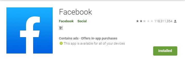 Facebook playstore rating dropped